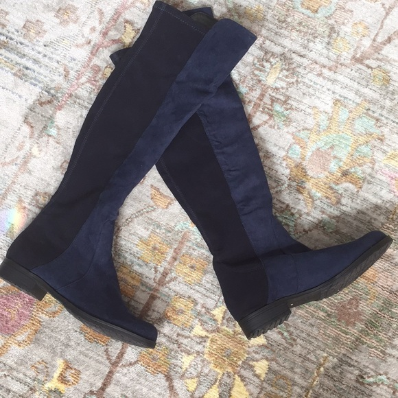 Unisa Shoes   Unisa Blue Suede Tall